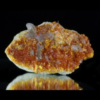 "3"" Ultra Hot RedOrange Color ORPIMENT Sparkly Crystals w/Calcite Russia for sale"