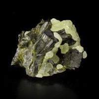 "2.3"" Shiny Green PREHNITE Balls Perched on Dark EPIDOTE Crystals Mali for sale"