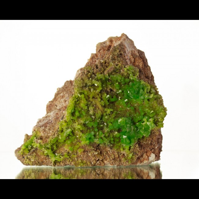 "5.1"" BriteAppleGreen Glassy Sharp PYROMORPHITE Crystals on Matrix China for sale"