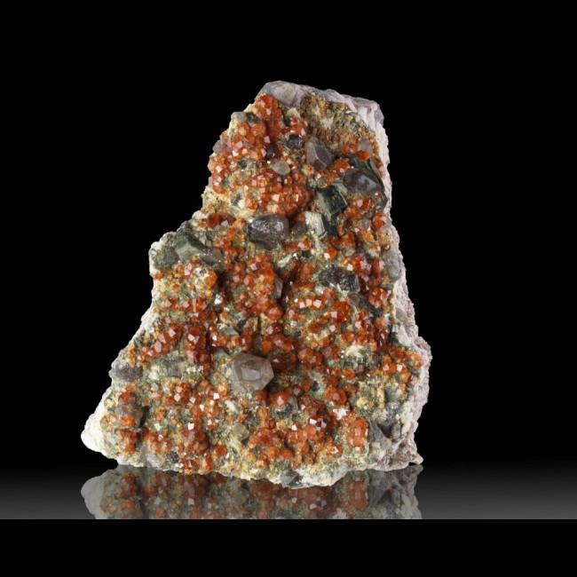 "3.8"" Vivid Orange SPESSARTINE GARNETS with SMOKY QUARTZ Crystals China for sale"