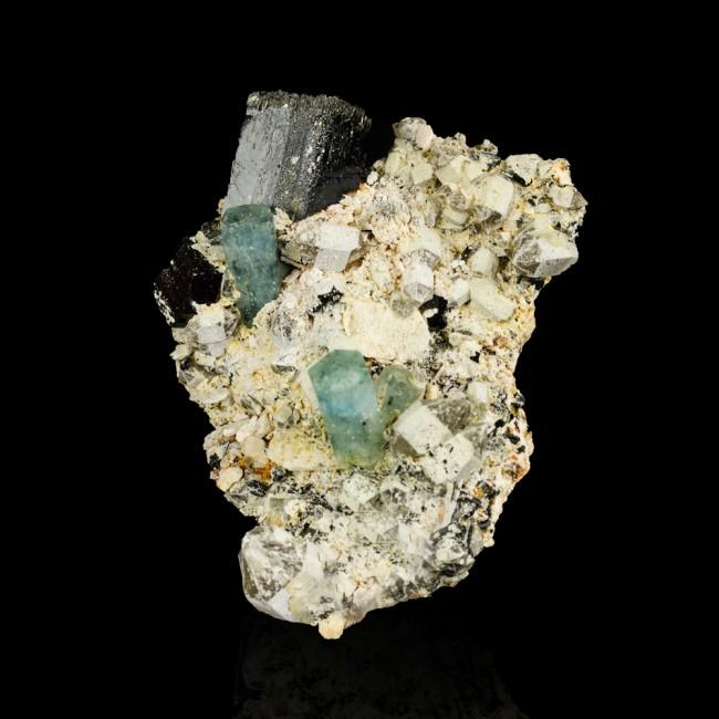"3.4"" Sky Blue AQUAMARINE Sharp Gem Crystals w/Black TOURMALINE Namibia for sale"