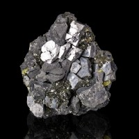 "3.1"" Shiny Silver Gray GALENA Flattened Cuboctahedral Crystals Bulgaria for sale"