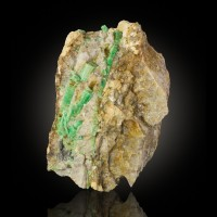 "4.5"" BrightGreen EMERALD Crystals to 1.8"" in Smoky Quartz Dayakou China for sale"