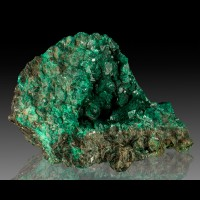 "4.4"" Highly Lustrous Vivid Green DIOPTASE Crystals to .6"" in Vug Congo for sale"