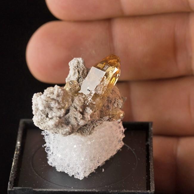 ".8"" Sharp Amber Terminated Gem TOPAZ Crystals on 1.4"" Rhyolite Utah for sale"