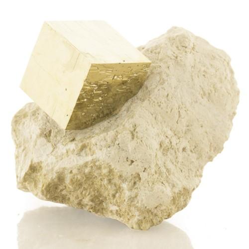 "1.5"" Sharp Brassy Golden PYRITE CUBE on 2.8&q..."