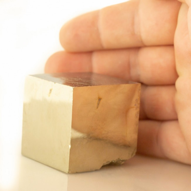 "2.7"" Sharp PYRITE CUBE SingleSharp Crystal MirrorBrite BrassyGold Spain for sale"