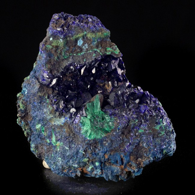"""2.6"""" Deep Blue AZURITE Crystals to 5mm in Vug w/Fibrous Malachite China for sale"""