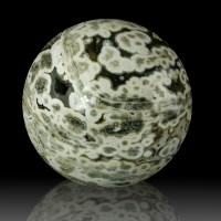 "4.3"" Polished Orbicular OCEAN JASPER Sphere Green-White-Tan Madagascar for sale"