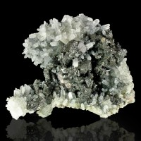 "3.8"" Lustrous SilverGray GALENA Crystals w/Clear Needle Quartz Bulgaria for sale"