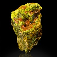 "1.5"" Orange CROCOITE Needle Crystals w/OliveGreen PYROMORPHITE Tasmania for sale"