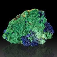 """4.2"""" Bright Green MALACHITE w/Fat Indigo Blue AZURITE Crystals Morocco for sale"""
