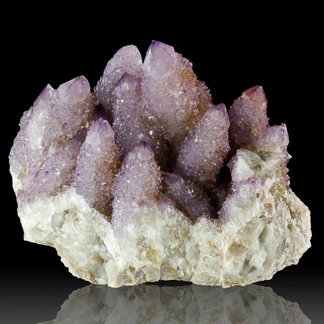 "4.8"" Large Group SPIRIT AMETHYST Crystals to 3"" w/Druzy Shafts S.Africa for sale"