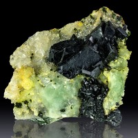 "3.2"" BABINGTONITE MidnightBlack Crystals TO .9"" on Green PREHNITE China for sale"