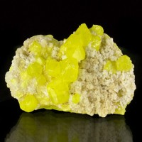 "1.8"" Brite Gem Yellow SULFUR Crystals w/Aragonite Sicily Collected 1976 for sale"