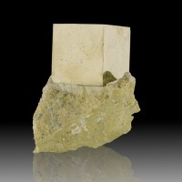"""1.4"""" Brassy Yellow Cubic PYRITE CRYSTAL on Tan 3.6"""" Marl Matrix Spain for sale"""