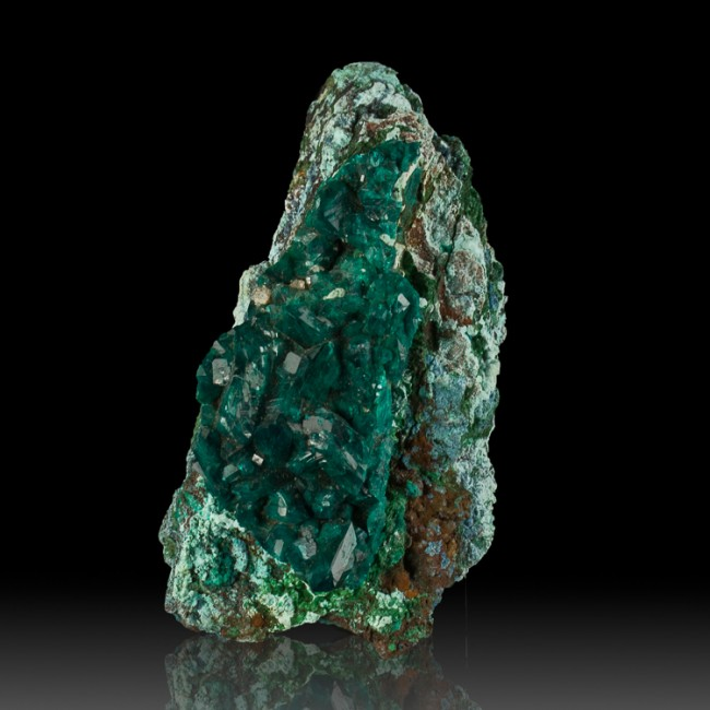 "3.9"" Sharp Wet-Look DIOPTASE Dark Green Complete Crystals to .8"" Congo for sale"