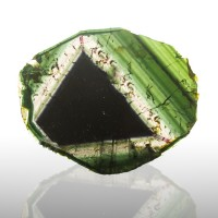 "4.4"" 228ct Multi-Color Slice LIDDICOATITE TOURMALINE w/Nested Triangles for sale"