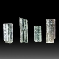"""Lot of 4 Gemmy BLUE TOURMALINE Indicolite Crystals to .9"""" Total 38.2ct for sale"""