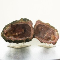 "4.3"" Crystal-Lined AMETHYST GEODE Both Halves w/Red Stalactites Morocco for sale"