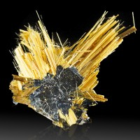 "1.1"" Golden RUTILE Needles Shooting from HEMATITE Double Crystal Brazil for sale"