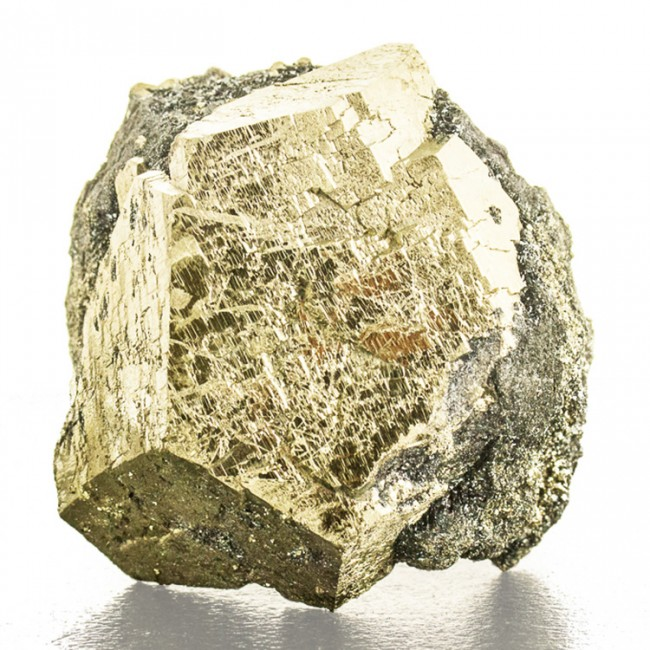 "2.9"" Gleaming Golden PYRITE CRYSTAL on Black Hematite Elba Island Italy for sale"