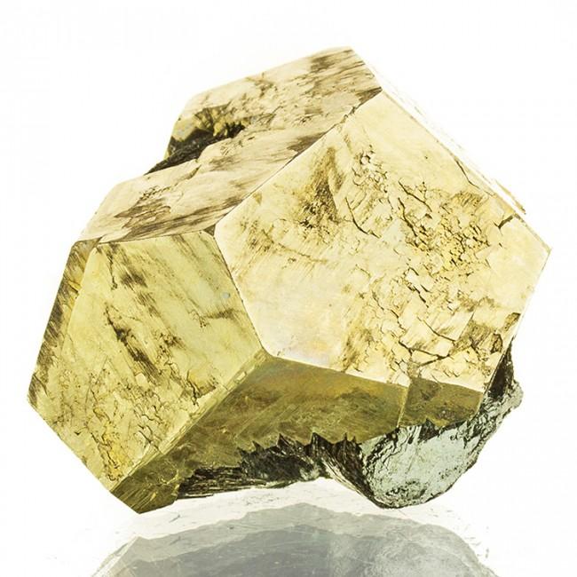 "1.7"" Sharp Brassy Gold PYRITE CRYSTAL on Black Hematite Isla Elba Italy for sale"
