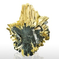 "1.6"" Fine Radiating GOLDEN RUTILE Epitactic on HEMATITE Crystals Brazil for sale"
