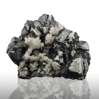 "3.4"" Brilliant Jet-Black SPHALERITE Crystals w/White Calcite Baia Sprie for sale"