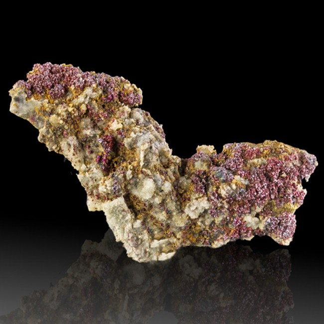 """3.4"""" RUBY SILVER PROUSTITE Sparkling Red Crystals on Acanthite Morocco for sale"""