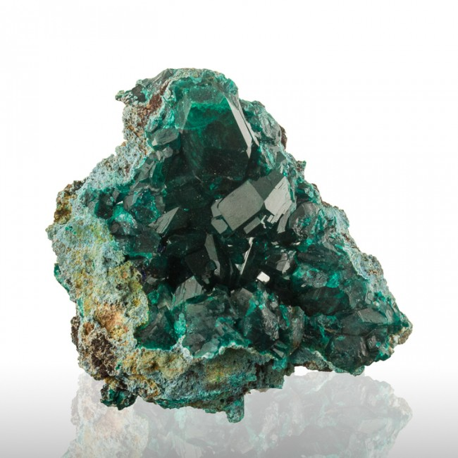 "2.7"" Forest Green Wet-Look DIOPTASE Crystals to .9"" Inside Vug Congo for sale"