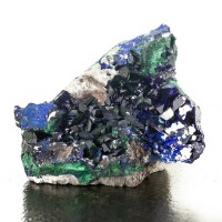 "3.6"" Shiny Dark Blue AZURITE Sharp Crystals+Malachite Milpillas Mexico for sale"