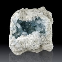 "9.8"" Glassy Sky Blue CELESTITE Gem Crystals Inside a Geode Madagascar for sale"