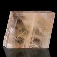 "4.4"" YellowPink ICELAND SPAR Gemmy Calcite Rhomb Dbl Refracting Mexico for sale"