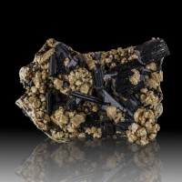 "2.2"" Shiny Black ARFVEDSONITE Terminated Crystals on Microcline Malawi for sale"