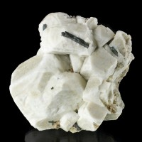"4.4"" CreamyWhite MICROCLINE BavenoTwin Crystals +Black AEGERINE Malawi for sale"