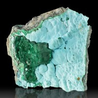 "5.5"" Bubbly Baby Blue CHRYSOCOLLA w/High Contrast Green MALACHITE Congo for sale"