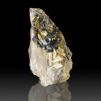 "2.7"" Metallic Gold RUTILE Crystals Epitaxic on HEMATITE Brazil w/Quartz for sale"