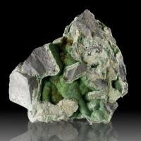 """4.8"""" Shiny Lime Green WAVELLITE Crystal Hemispheres on Chert Arkansas for sale"""