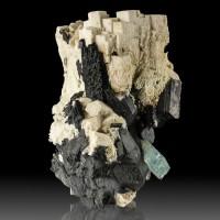 "3.5"" Gem Light Blue AQUAMARINE 1"" Crystal on Microcline +Schorl Namibia for sale"