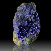 "3.6"" Sparkling Ultramarine Blue AZURITE Crystals Lining Open Vug China for sale"