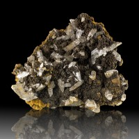 "3.9"" Sharp Clear SELENITE Crystals on Black GOETHITE Lavrion Greece for sale"