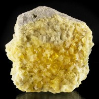 "3.4"" Bright Yellow Cubic FLUORITE Crystals onMatrix Hilton Mine England for sale"