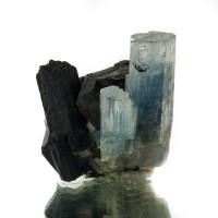 "1.8"" SeeThru Gem TurquoiseBlue AQUAMARINE Crystals onTourmaline Namibia for sale"