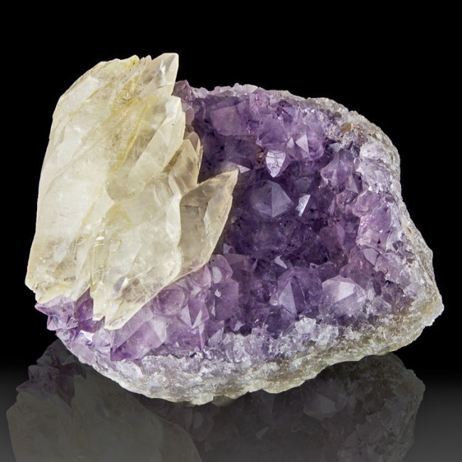 "3.9"" Gemmy Clear CALCITE DblTerminatd Crystals onPurple AMETHYST Brazil for sale"