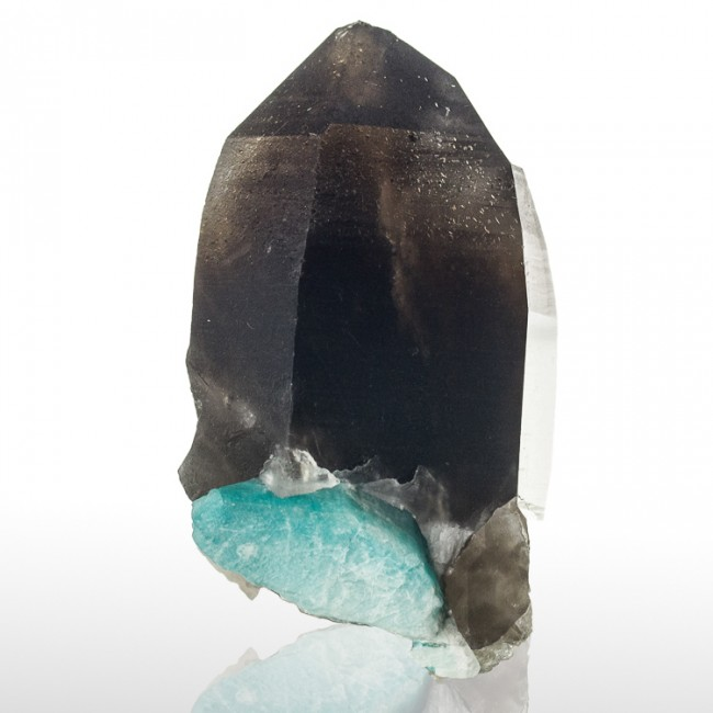"2.5"" SMOKY QUARTZ Crystal on Blue AMAZONITE Site D Smoky Hawk Claim CO for sale"