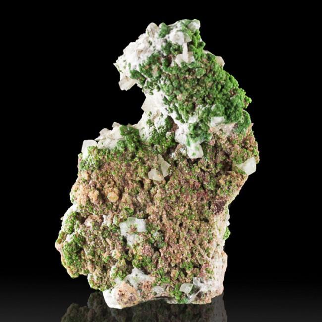 """3.3"""" TSUMEB! Bright Grass Green MOTTRAMITE Crystals w/Calcite on Matrix for sale"""
