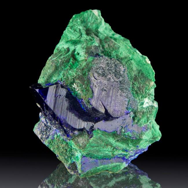 "1.8"" Shiny Blue AZURITE Crystals w/Malachite Pseudos Milpillas Mexico for sale"