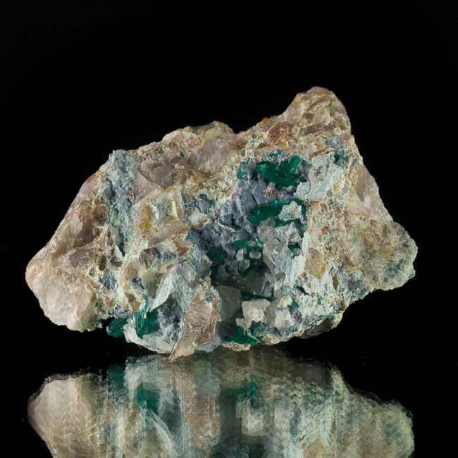 """3.3"""" Green DIOPTASE Crystals to 11mm on Shattuckite & Calcite Namibia for sale"""