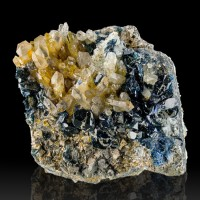 "2.5"" Sharp Sparkling Navy Blue LAZULITE Crystals to 6mm +Quartz Yukon for sale"